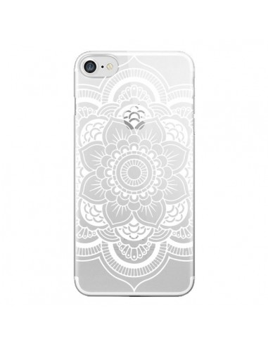 Coque iPhone 7 et 8 Mandala Blanc Azteque Transparente - Nico