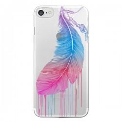 Coque iPhone 7/8 et SE 2020 Plume Feather Arc en Ciel Transparente - Rachel Caldwell
