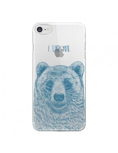 Coque I Love You Bear Ours Ourson Transparente pour iPhone 7 et 8 - Rachel Caldwell