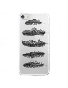 Coque Plume Feather Noir Transparente pour iPhone 7 et 8 - Rachel Caldwell