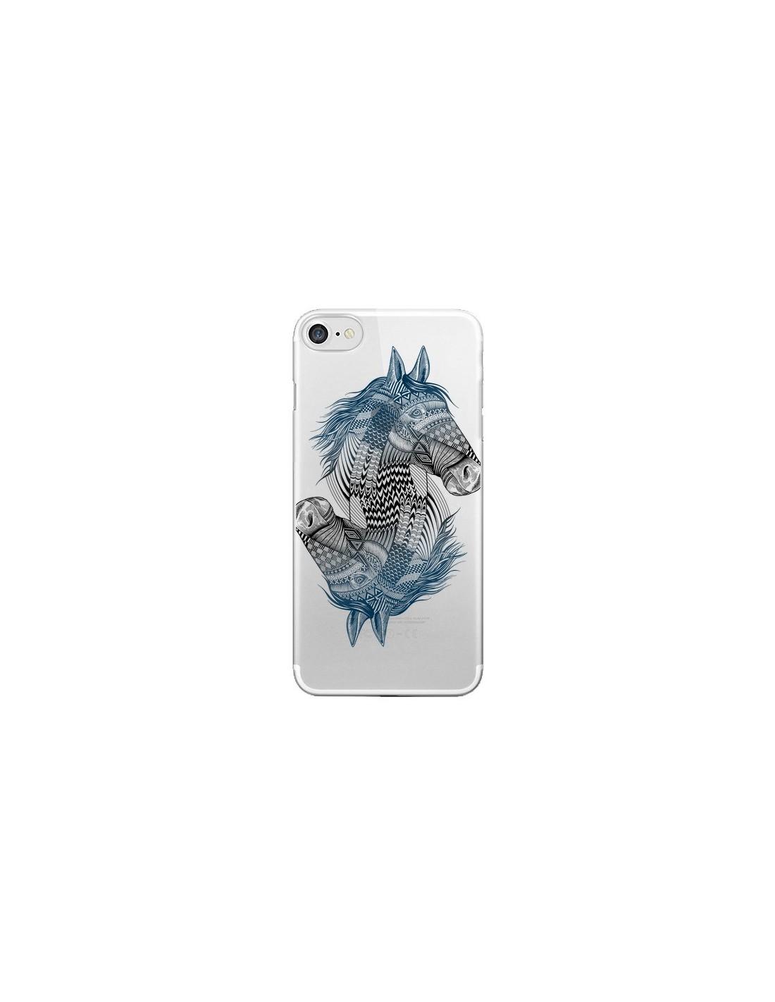 coque iphone 7 8 se 2020 cheval horse double transparente rachel caldwell