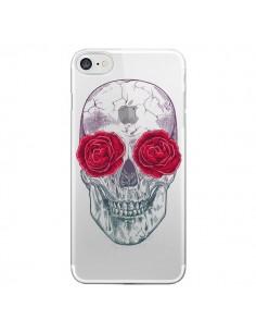 Coque Tête de Mort Rose Fleurs Transparente pour iPhone 7 et 8 - Rachel Caldwell