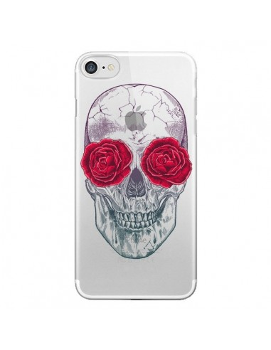 Coque iPhone 7 et 8 Tête de Mort Rose Fleurs Transparente - Rachel Caldwell