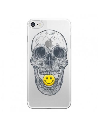 Coque iPhone 7 et 8 Tête de Mort Smiley Transparente - Rachel Caldwell