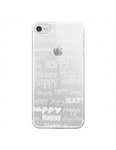 Coque Happy Happy Blanc Transparente pour iPhone 7 - R Delean