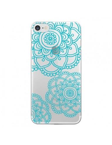 Coque Mandala Bleu Aqua Doodle Flower Transparente pour iPhone 7 et 8 - Sylvia Cook
