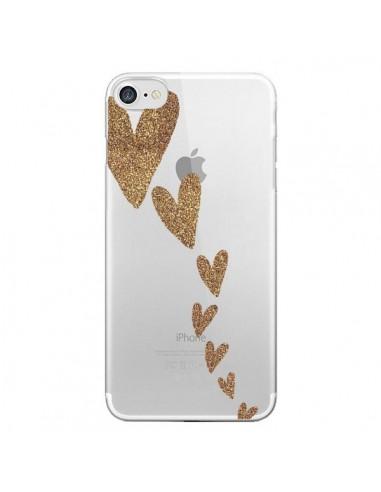 Coque iPhone 7 et 8 Coeur Falling Gold Hearts Transparente - Sylvia Cook