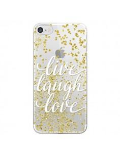 Coque Live, Laugh, Love, Vie, Ris, Aime Transparente pour iPhone 7 et 8 - Sylvia Cook