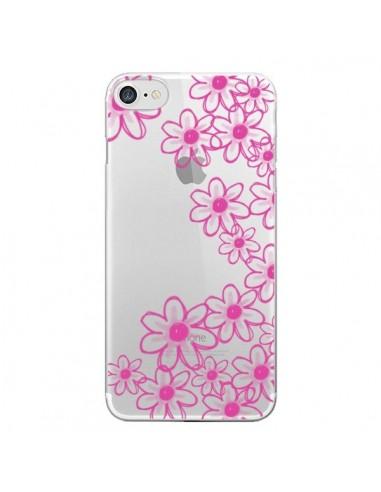 Coque Pink Flowers Fleurs Roses Transparente pour iPhone 7 et 8 - Sylvia Cook