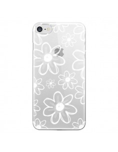 Coque Mandala Blanc White Flower Transparente pour iPhone 7 et 8 - Sylvia Cook