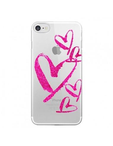 Coque Pink Heart Coeur Rose Transparente pour iPhone 7 et 8 - Sylvia Cook