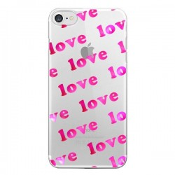Coque Pink Love Rose Transparente pour iPhone 7 et 8 - Sylvia Cook