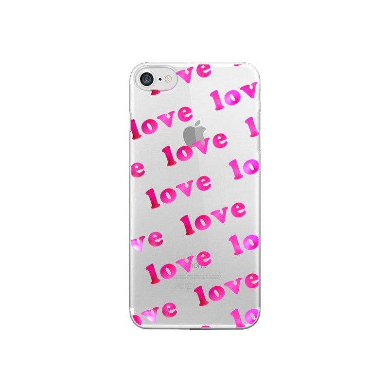 Coque Pink Love Rose Transparente pour iPhone 7 et 8 - Sylvia Cook