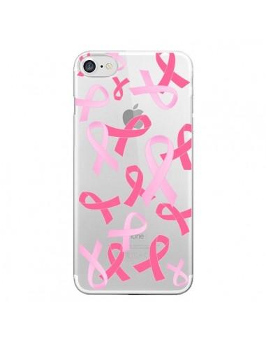 Coque iPhone 7 et 8 Pink Ribbons Ruban Rose Transparente - Sylvia Cook