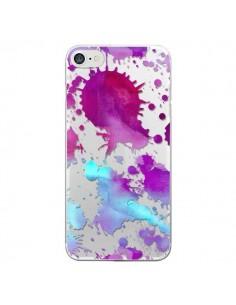 Coque Watercolor Splash Taches Bleu Violet Transparente pour iPhone 7 et 8 - Sylvia Cook