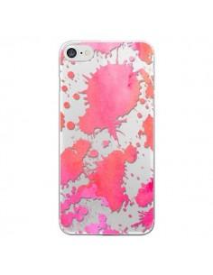 Coque Watercolor Splash Taches Rose Orange Transparente pour iPhone 7 et 8 - Sylvia Cook