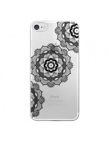 Coque Triple Mandala Noir Black Transparente pour iPhone 7 et 8 - Sylvia Cook