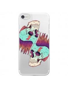 Coque iPhone 7/8 et SE 2020 Tête de Mort Crane Punk Double Transparente - Victor Vercesi
