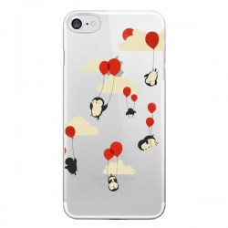 Coque iPhone 7 et 8 Pingouin Ciel Ballons Transparente - Jay Fleck