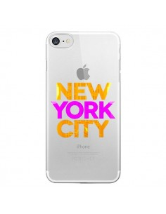 Coque New York City NYC Orange Rose Transparente pour iPhone 7 - Javier Martinez