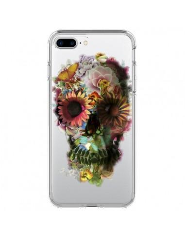 Coque iPhone 7 Plus et 8 Plus Skull Flower Tête de Mort Transparente - Ali Gulec