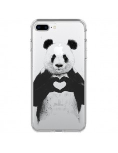 Coque iPhone 7 Plus et 8 Plus Panda All You Need Is Love Transparente - Balazs Solti