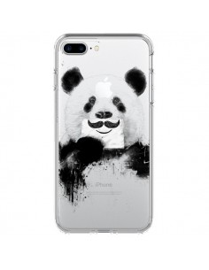 Coque Funny Panda Moustache Transparente pour iPhone 7 Plus - Balazs Solti