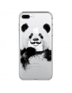 Coque iPhone 7 Plus et 8 Plus Funny Panda Moustache Transparente - Balazs Solti