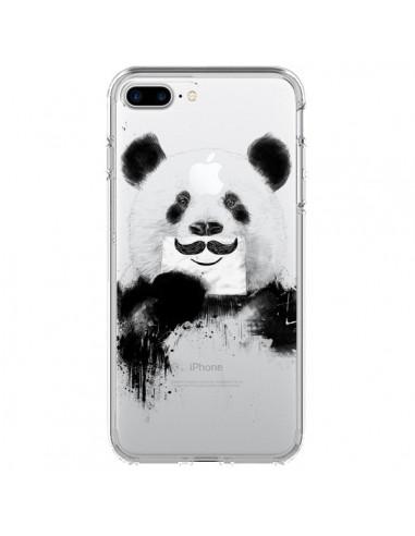 Coque Funny Panda Moustache Transparente pour iPhone 7 Plus et 8 Plus - Balazs Solti
