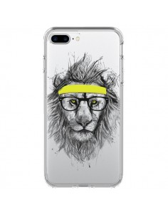 Coque iPhone 7 Plus et 8 Plus Hipster Lion Transparente - Balazs Solti