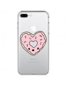 Coque Donuts Heart Coeur Rose Transparente pour iPhone 7 Plus - Claudia Ramos