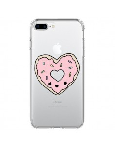 Coque iPhone 7 Plus et 8 Plus Donuts Heart Coeur Rose Transparente - Claudia Ramos