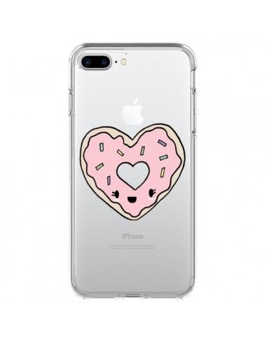 Coque Donuts Heart Coeur Rose Transparente pour iPhone 7 Plus et 8 Plus - Claudia Ramos