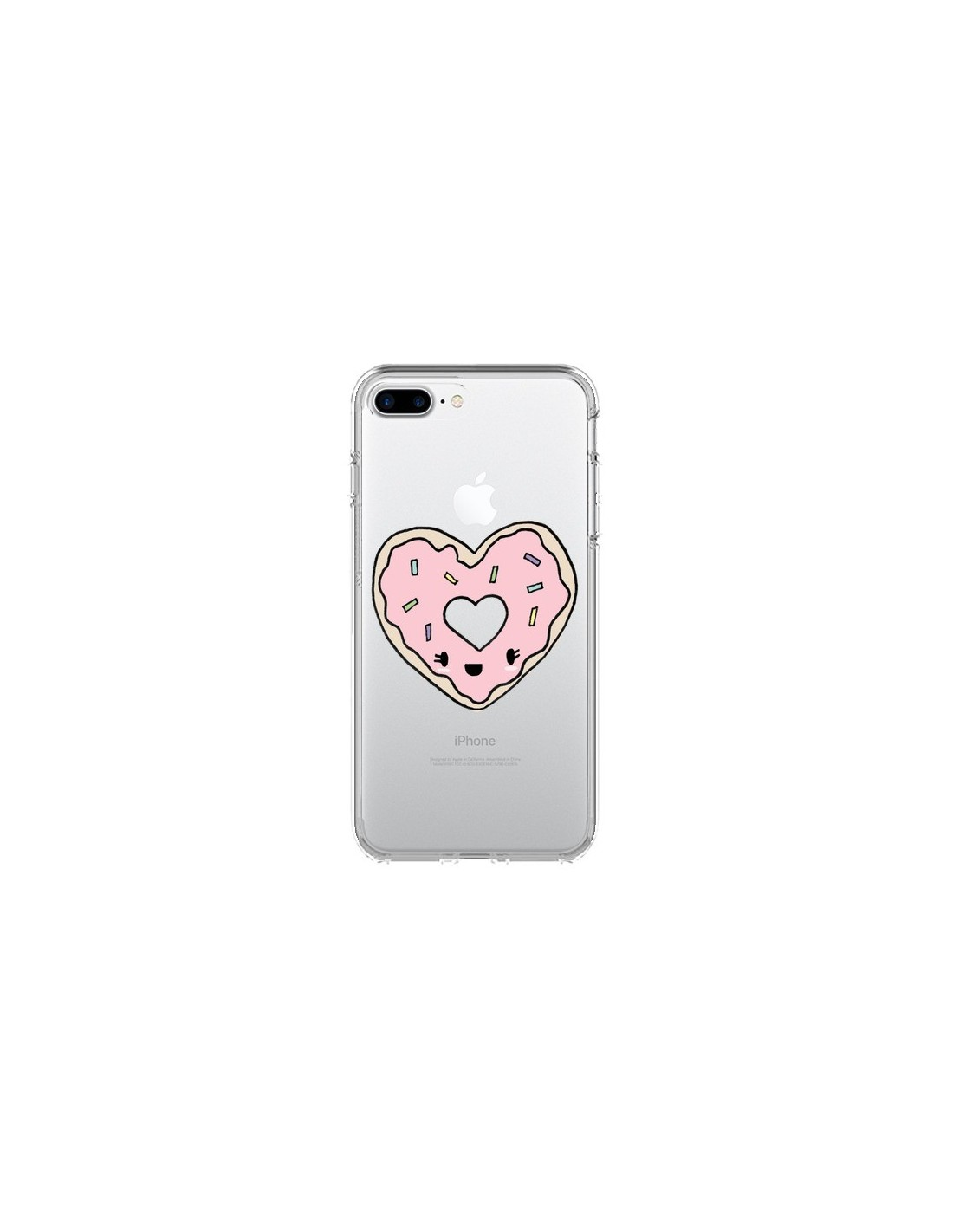 coque donuts heart coeur rose transparente pour iphone 7 plus et 8 plus claudia ramos. Black Bedroom Furniture Sets. Home Design Ideas