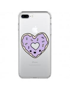 Coque Donuts Heart Coeur Violet Transparente pour iPhone 7 Plus - Claudia Ramos