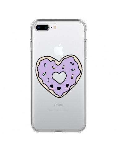 Coque iPhone 7 Plus et 8 Plus Donuts Heart Coeur Violet Transparente - Claudia Ramos