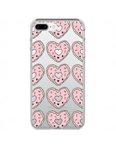 Coque iPhone 7 Plus et 8 Plus Donuts Heart Coeur Rose Pink Transparente - Claudia Ramos