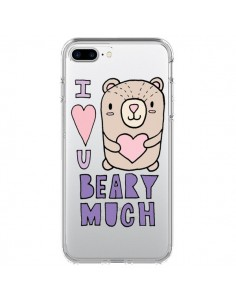 Coque iPhone 7 Plus et 8 Plus I Love You Beary Much Nounours Transparente - Claudia Ramos