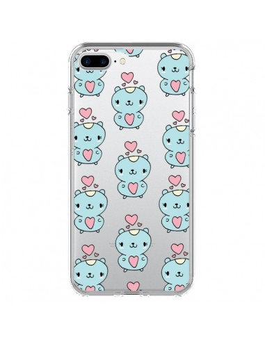 Coque iPhone 7 Plus et 8 Plus Hamster Love Amour Transparente - Claudia Ramos