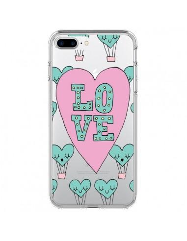 Coque iPhone 7 Plus et 8 Plus Love Nuage Montgolfier Transparente - Claudia Ramos