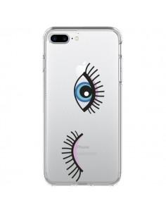 Coque Eyes Oeil Yeux Bleus Transparente pour iPhone 7 Plus et 8 Plus - Elsa Lmb