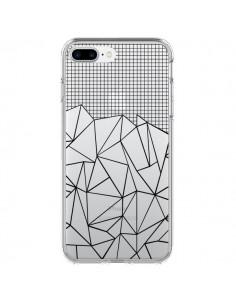 Coque Lignes Grille Grid Abstract Noir Transparente pour iPhone 7 Plus - Project M