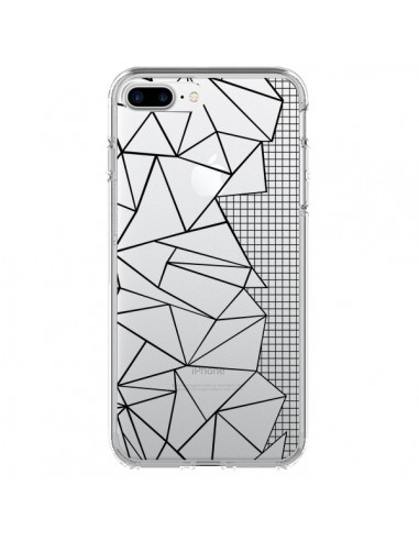 Coque Lignes Grilles Side Grid Abstract Noir Transparente pour iPhone 7 Plus et 8 Plus - Project M