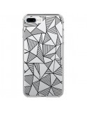 Coque iPhone 7 Plus et 8 Plus Lignes Grilles Triangles Grid Abstract Noir Transparente - Project M