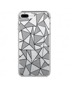 Coque Lignes Grilles Triangles Grid Abstract Noir Transparente pour iPhone 7 Plus et 8 Plus - Project M