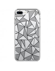 Coque Lignes Grilles Triangles Grid Abstract Noir Transparente pour iPhone 7 Plus - Project M