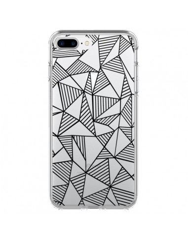Coque Lignes Grilles Triangles Grid Abstract Noir Transparente pour iPhone 7 Plus et 8 Plus - Project M