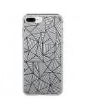 Coque Lignes Grilles Triangles Full Grid Abstract Noir Transparente pour iPhone 7 Plus et 8 Plus - Project M