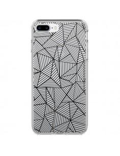 Coque Lignes Grilles Triangles Full Grid Abstract Noir Transparente pour iPhone 7 Plus - Project M