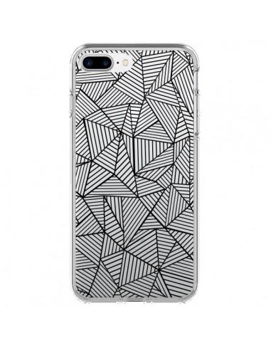 Coque iPhone 7 Plus et 8 Plus Lignes Grilles Triangles Full Grid Abstract Noir Transparente - Project M